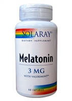 Solaray Melatonin 3 mg w/Valermint (60 Capsules)