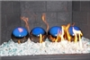 6 inch blue on Dark Brown high fire Terracotta fireball