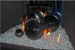 Black on Silver high fire terracotta Fireball