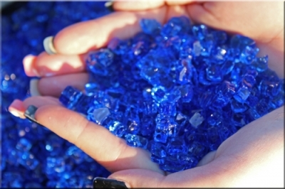 cobalt blue colored fireglass for outdoor deck fire pits fire tables