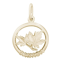Rembrandt Canada Maple Leaf Charm, Gold Plated Silver
