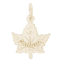 Rembrandt Canadian Maple Leaf Charm, Gold Plated Silver
