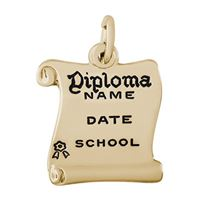 Rembrandt Diploma Charm, Gold Plated Silver