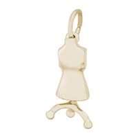 Rembrandt Dress Form Charm, Gold Plated Silver