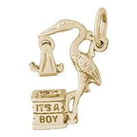 Rembrandt Stork, Boy Charm, 14K Yellow Gold