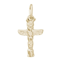 Rembrandt Totem Pole Charm, Gold Plated Silver
