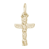 Rembrandt Vancouver Totem Pole-Vancover Charm, Gold Plated Silver