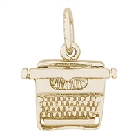 Rembrandt Typewriter Charm, Gold Plated Silver