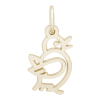 Rembrandt Bird Charm, Gold Plated Silver