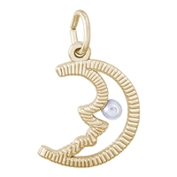 Rembrandt Half Moon with Pearl Charm, Gold Plated Silver