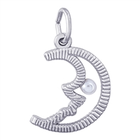 Rembrandt Half Moon with Pearl Charm, Sterling Silver