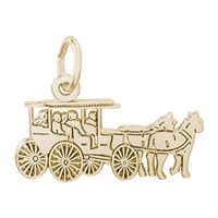 Rembrandt Horse & Carriage Charm, Gold Plated Silver