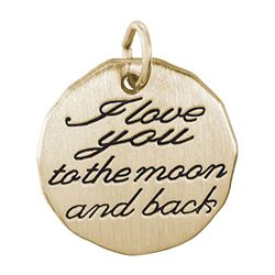 Rembrandt I Love You To The Moon Charm, Gold Plated Silver
