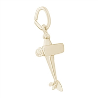 Rembrandt Airplane Charm, Gold Plated Silver