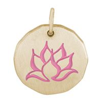 Rembrandt Lotus Flower Charm, Gold Plated Silver