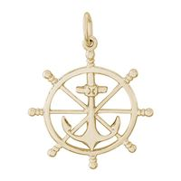 Rembrandt Ship Wheel Charm, Gold Plated Silver