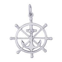 Rembrandt Ship Wheel Charm, Sterling Silver