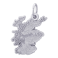 Rembrandt Scotland Map Charm, Sterling Silver