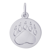 Rembrandt Bear Paw Print Charm, Sterling Silver
