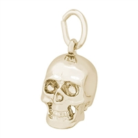 Rembrandt Skull Charm, Gold Plated Silver