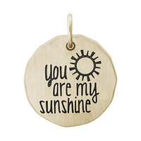Rembrandt You Are My Sunshine Charm Tag Charm, Gold Plated Silver