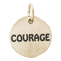 Rembrandt Courage Charm Tag, Gold Plated Silver