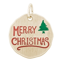 Rembrandt Merry Christmas Charm Tag, Gold Plated Silver