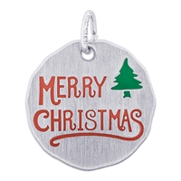 Rembrandt Merry Christmas Charm Tag, Sterling Silver
