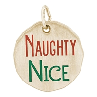 Rembrandt Naughty Nice Charm Tag, Gold Plated Silver