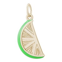 Rembrandt Lime Slice Charm, Gold Plated Silver