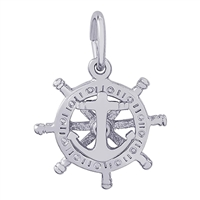 Rembrandt Small Anchor & Ships Wheel Charm, 14K White Gold