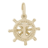 Rembrandt Small Anchor & Ships Wheel Charm, Gold Plated Silver