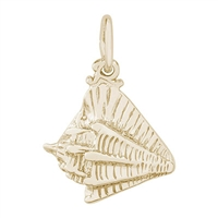 Rembrandt Conch Shell Charm, Gold Plated Silver
