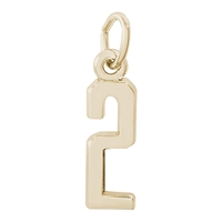 Rembrandt Number 2 Charm, Gold Plated Silver