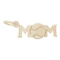 Rembrandt Baseball Mom Charm, Gold Plated Silver