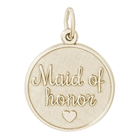 Rembrandt Maid of Honor Disc Charm, Gold Plated Silver