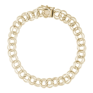 "Rembrandt Double Link 7"" Charm Bracelet With Box Style Clasp, Gold Plated Silver"