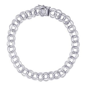"Rembrandt Double Link 7"" Charm Bracelet With Box Style Clasp, 14K White Gold"