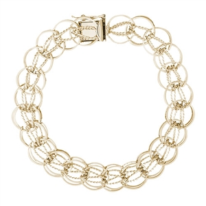 "Rembrandt Designer Link 7"" Charm Bracelet With Box Style Clasp, 10K Yellow Gold"