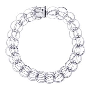 "Rembrandt Designer Link 7"" Charm Bracelet With Box Style Clasp, 14K White Gold"