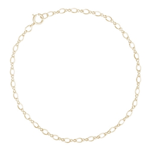 "Twist Design Single Link 10"" Anklet With Spring Ring Clasp, 14K Yellow Gold"