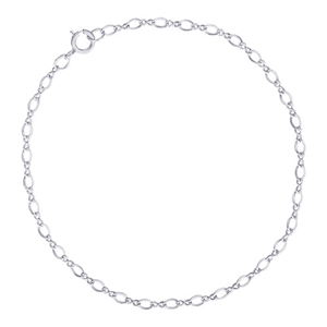 "Twist Design Single Link 10"" Anklet With Spring Ring Clasp, Sterling Silver"