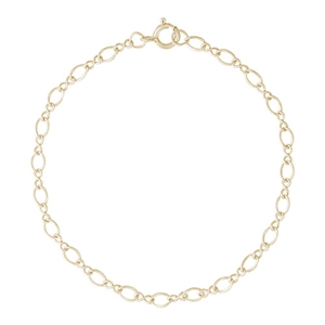 "Twist Design Single Link 10"" Anklet With Spring Ring Clasp, Gold Plated Silver"