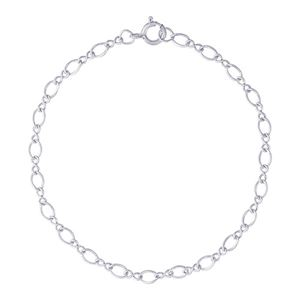 "Rembrandt Twist Design Single Link 8"" Charm Bracelet With Spring Ring Clasp, Sterling Silver"