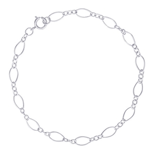 "Rembrandt Twist Design Single Link 7"" Charm Bracelet With Spring Ring Clasp, Sterling Silver"