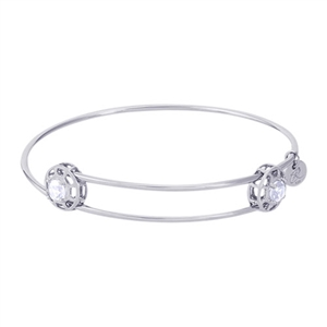 "Rembrandt ""Insightful"" Expandable Bangle - April, Sterling Silver"