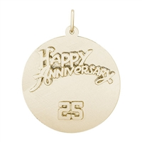 Rembrandt 25th Anniversary Charm, Gold Plated Silver