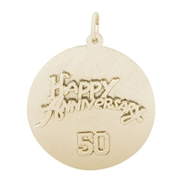 Rembrandt 50th Anniversary Charm, Gold Plated Silver