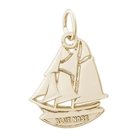 Rembrandt Blue Nose, Nova Scotia Charm, Gold Plated Silver