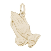 Rembrandt Large Praying Hands Charm, Gold Plated Silver